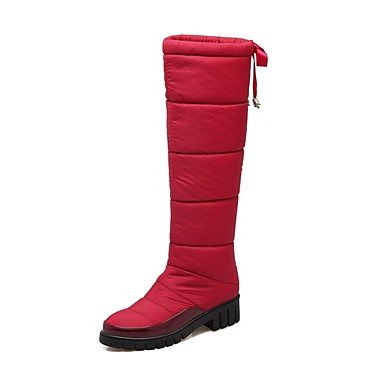 RTRY Women's Shoes Leatherette Fall Winter Comfort Boots Chunky Heel Round Toe Knee High Boots Lace-up For Party & Evening Dress Red Gray Black US6.5-7 / EU37 / UK4.5-5 / CN37 yYgpDgk7yx