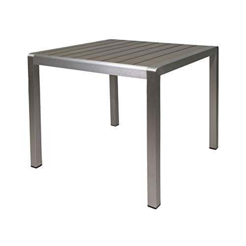 Great Deal Furniture 307015 Louie Coral Outdoor Dining Anodized Aluminum-Faux Wood Table Top-Square Gray-35, Silver + Gray