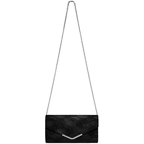 Black Metal Ladies and Lace CASPAR Envelope TA429 Clip Evening with Bag Elegant Clutch 7ZSRZ4pqw