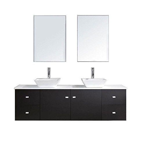 Virtu USA Clarissa 72 in. Double Basin Vanity in Espresso with Artificial Stone Vanity Top in White and Mirror - Clarissa Vanity