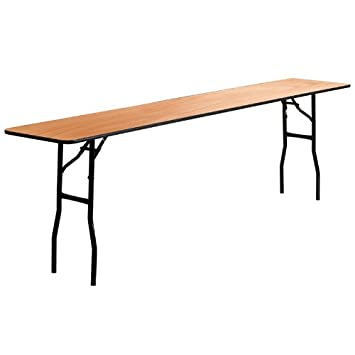 StarSun Depot 18 x 96 Rectangular Wood Folding Training Seminar Table with Smooth Clear Coated Finished Top 18 W x 96 D x 30.25 H