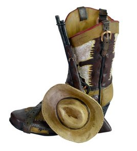 Western Cowboy Boot Figure, 5.5-inch, Pen Pencil Toothbrush Trinket Holder
