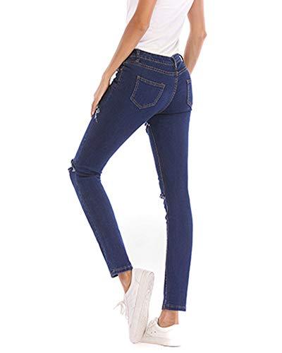 Jeans Matita Yonglan Denim Slim Blu Pantaloni Skinny Donna Scuro Strappati Fit Elastico AqBqt8