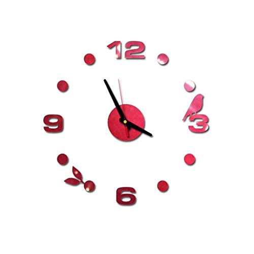 3D DIY Wall Clock,Wall Murals Decal Waterproof Sticker Roman Numbers Acrylic Wallpaper Clocks for Home Decoration Kitchen Living Room Decor Decorative Office (Red) ()