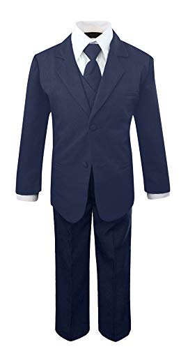 Luca Gabriel Toddler Boys' 5 Piece Classic Fit No Tail Formal Navy Blue Dress Suit Set with Tie and Vest - Size 7 (Best Shoes With Navy Suit)
