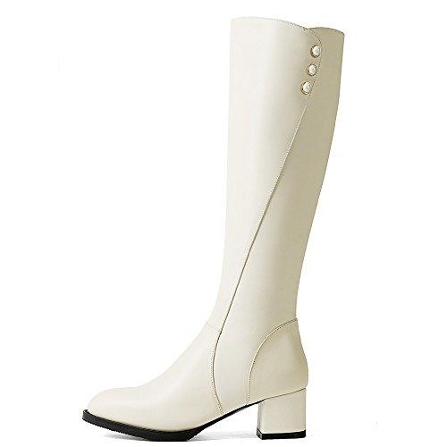 Block Nine High Toe Heel Round Dress Genuine Classic Beige Seven Boots Knee Women's Comfort Leather Handmade HOqrpOwY