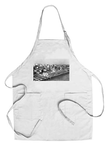 Portland, OR Aerial View from Hawthorne Bridge Photograph (Cotton/Polyester Chef's Apron) ()