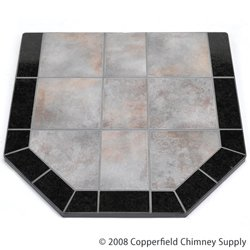 Hearth Pad Dimensions - Chimney 49210 Night Shadows Tile Double Cut Stove Board- 40 in. X 40 in.