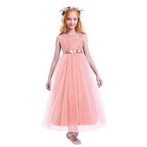 dedc01258fca FYMNSI Big Girls Tulle Lace Dress Wedding Communion Evening Birthday Party  Bowknot Dress Flower Girl Princess