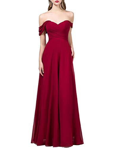 OYISHA Womens Off The Shoulder Chiffon Bridesmaid Long Evening Dress Formal BD131 Burgundy 10