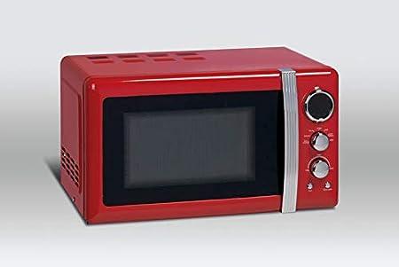 Scandomestic MIR20F - Microondas con 20 litros de capacidad, 12 programas, temporizador, diseño vintage, 700 W de potencia