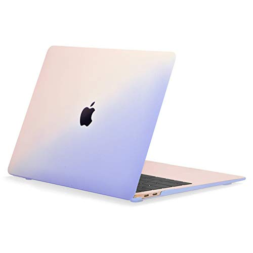 Rubberized Hard Case - TOP CASE - Graphics Rubberized Hard Case Cover Compatible with 2018 Release MacBook Air 13 Inch with Retina Display fits Touch ID Model: A1932 - Gradient Rose Quartz and Serenity Blue
