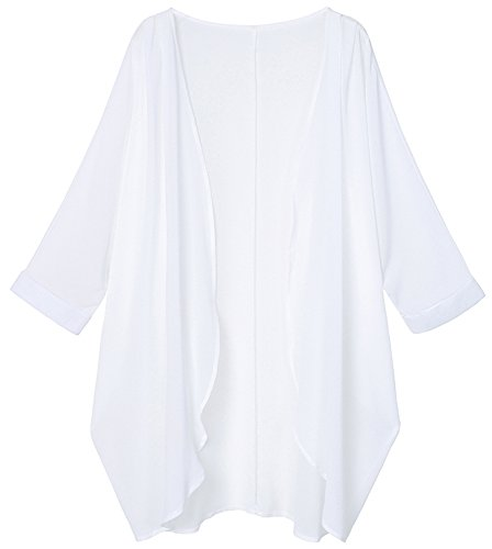 (Tribear Women's Sheer Chiffon Kimono Cardigan Solid Casual Capes Beach Cover up (X-Large, New White))