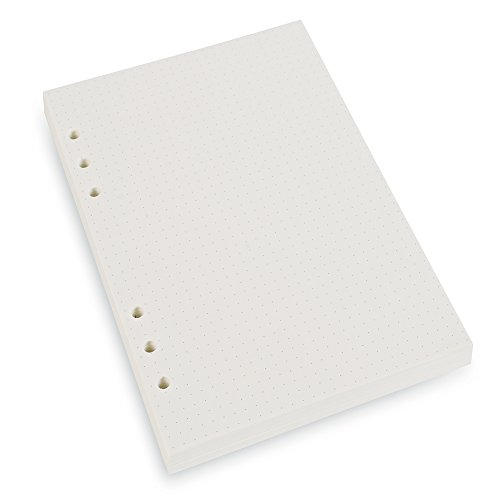 A5 6-Ring Binder/Planner Refill Paper for Filofax, 6 Hole, 100 Sheets/200 Pages, Dot Grid