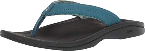 OLUKAI Women's Ohana Sandal, Teal/Black, 8 M US (Footwear Metallic Green)