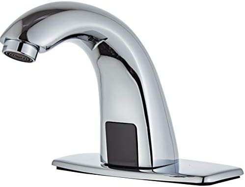 Luxice Automatic Touchless Bathroom Sink Faucet with Hole Cover Plate, AC DC Powered Sensor Hands Free Bathroom Tap with Control Box and Temperature Mixer, Battery or Plug-in Sensor, Chrome Finished
