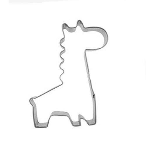 Yunko Lovely Animal Series Stainless Steel Cookie Cutter Fondant Cutter Puppy Cat Giraffe Elephant Rabbit Dolphin Bone (Giraffe)