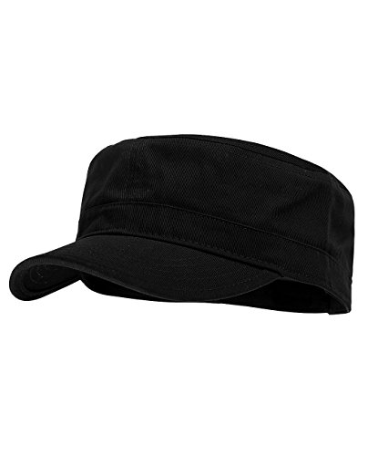 NYFASHION101 Fashionable Solid Color Unisex Adjustable Strap Cadet Cap, Black