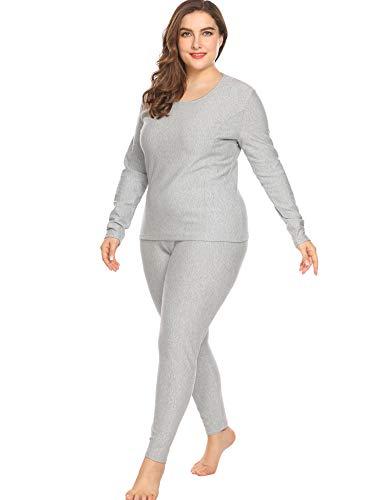 In'voland Women's Thermal Underwear Set Top & Bottom Fleece Lined,Grey,16W/XL