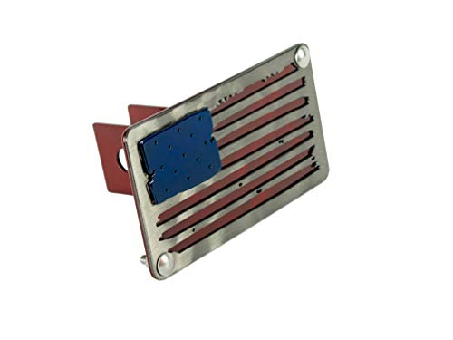 - BLUE LUCA Metal American Flag Hitch Cover for 2 Inch Hitch Receiver | Distressed Flag Edition | Powder Coated Finish | Made in USA