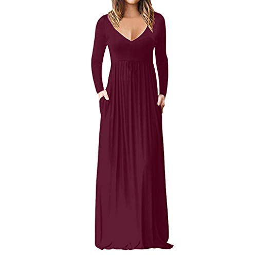 Winsummer Womens Long Sleeve V-Neck Wrap Waist Maxi Dress Casual Loose Plain Long Party Cocktail Dresses Red