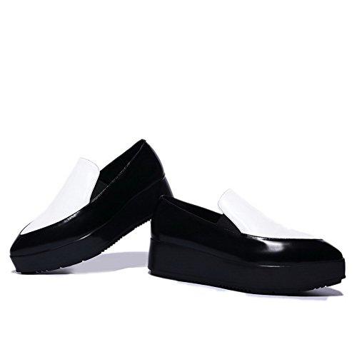 Amoonyfashion Kvinners Spisse Tå Lukket Tå Kitten Hæler Pumper-sko Med Faste Multicolured