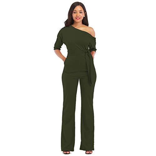 (One Shoulder Jumpsuits for Women Elegant Night Sexy Casual Summer Rompers Dress Wide Leg Long Pants Plus Size Dark Green)