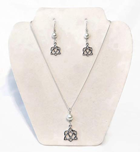 Celtic Heart Knot Necklace Earring Jewelry Set with Sterling Silver Snake Chain #Jewelry #NecklaceSet #Giftset #CelticGift