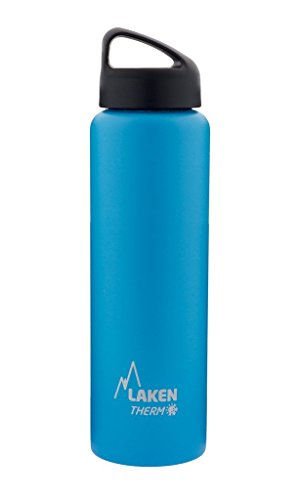 Laken Thermo Classic Vacuum Insulated Stainless Steel Wide Mouth Water Bottle with Screw Cap, 34 Oz, Light Blue