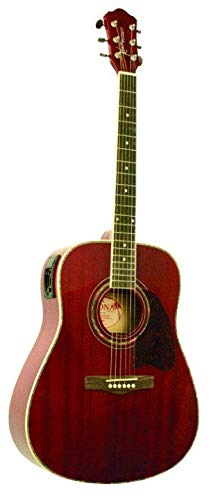 Kona Guitars K101 Dreadnought Acoustic Guitar with 3-Band Active E.Q, Transparent Red ()