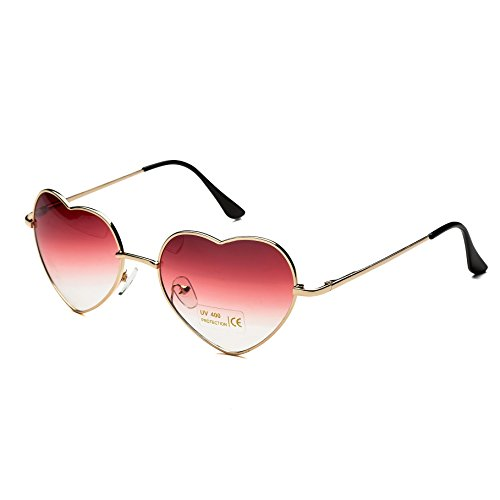 (Dollger Red Heart Shape Sunglasses for Women Metal Fame Party)
