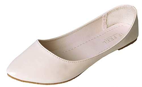 IF FEEL Women's Leather Nude Casual Pointy Toe Soft Solids Ballet Walking Flats Shoes - Size 6 Pastel Ballet Shoes