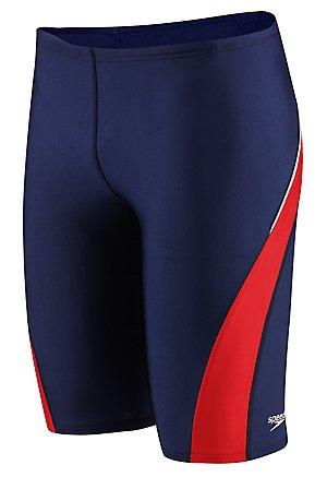 Speedo Men's PowerFLEX Eco Taper Splice Jammer Swimsuit,Navy/Red,30