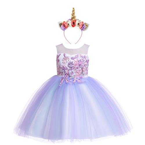 Weileenice 2-14T Girls Costume Cosplay Dress Rainbow Tulle 3D Embroidery Beading Princess Dresses (3-4 Years, Lilac Purple (With Headband)) -