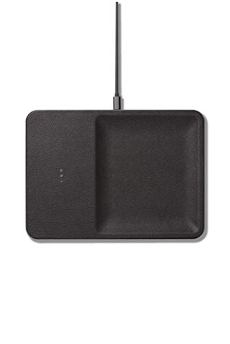 Courant Wireless Charging Accessory Tray, Qi Certified, Fast-Charging, Italian Leather, Compatible with iPhone Xs/XS Max/XR/X/Android (Ash)