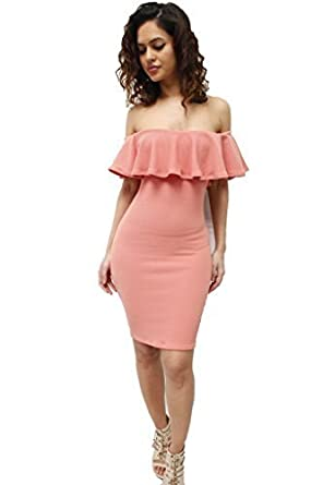 f7301ed6ae1f Glamzam Off Shoulder Frill Bodycon Midi Dress Blush 14: Amazon.co.uk ...