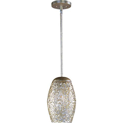 - Maxim 24153BCGS Arabesque 1-Light Mini Pendant, Golden Silver Finish, Beveled Crystal Glass, G9 Clear Xenon Xenon Bulb , 13W Max., Wet Safety Rating, 2700K Color Temp, Glass Shade Material, 900 Rated Lumens