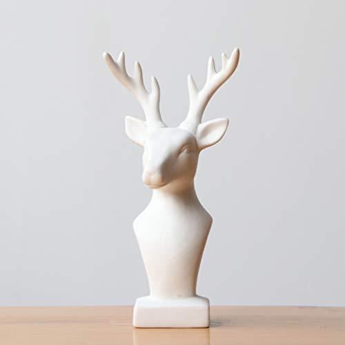 JDSHSO Deer Head Statue White Ceramic Reindeer Figurine Elegant Home Decorative Animal Elk Sculpture Craft Gift