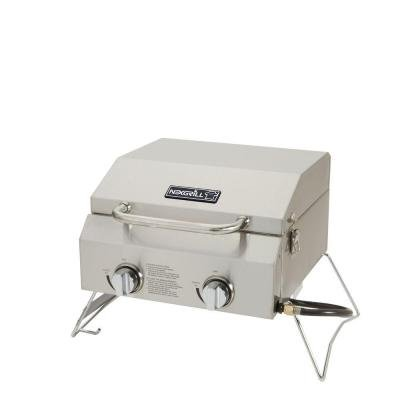 2-Burner Portable Propane Gas Table Top Grill in Stainless S