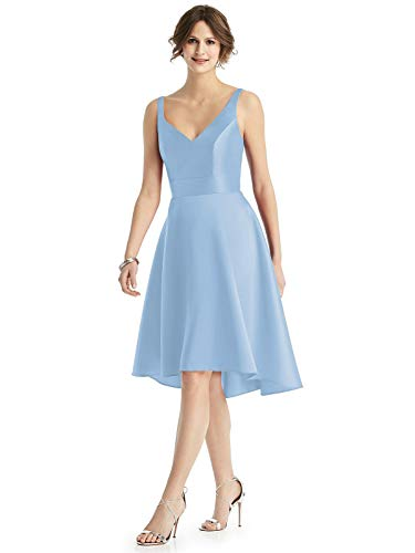 Yilis Women's Sleeveless V-Neck Asymmetrical Satin Prom Dress A-line Formal Party Gown with Pockets Light Blue US4 ()