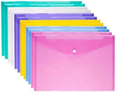 Zip File Folder Mesh 10pcs Plastic Envelopes Poly Envelope Folder with Snap Button Closure Zip File Folder Mesh Waterproof Transparent Project Envelope Folder A4 Letter Size