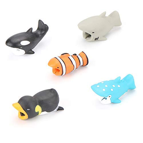 Epessa 5 PCS Cable Bites for iPhone Cable, Marine Animals|Terrestrial Animals|Dinosaurs and Fish|Animal Bite Cable Protector are Available (Marine Animals)