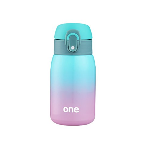Mini Water Bottle for Kids& Adult, Vacuum Insulated Bottle, Travel Coffee Cup, Stainless Steel Thumbler, Ombre - 9oz (Green-pink)