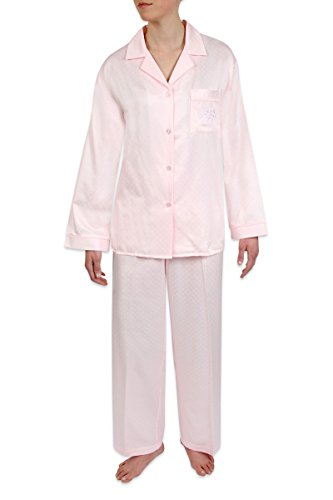 Heavenly Bodies Satin Pajamas, Classic Long Sleeve Notch Collar PJ Set with Brushed Back Satin. Warmth Without The -