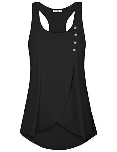 (Derminpro Racerback Tank Tops for Women, Sleeveless Crossover Hem Round Neck Breathable Workout Tunics Black Medium)