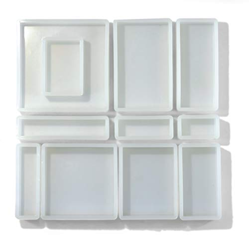 Silicone Resin Molds, Square and Rectangular Shapes, 11 PCS of Different Sizes. for Interior Design, Jewelry Coasters, Art Projects, DIY Crafts, Soap Making