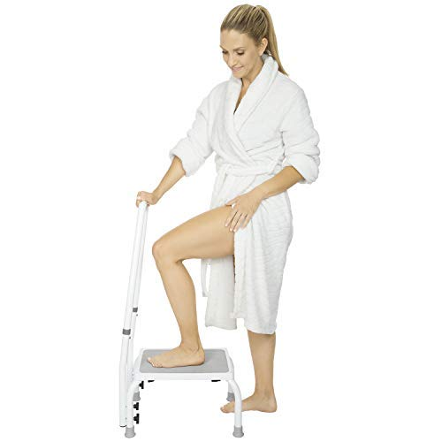 Vive Step Stool with Handle - Footstool Riser for Adults and Kids - Bariatric Platform with Handrail...