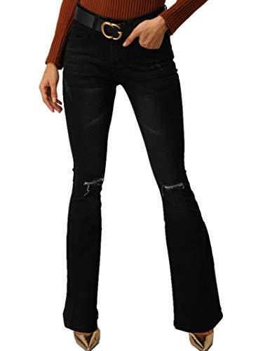 TENGFU Women's Fashion High Rise Slimming Wide Leg Stretch Denim Flare Bellbottom Jeans (6, Black 3023)