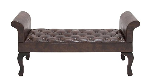 [Deco 79 56602 Wood Leather Bench, 53
