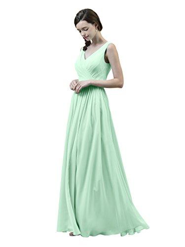 Dress Chiffon Mint Bridesmaid Long V Dress Sleeveless Green Neck Alicepub Party Evening Prom qwEazSRRx